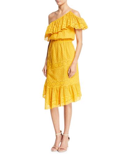 Corynn One-Shoulder Eyelet Dress