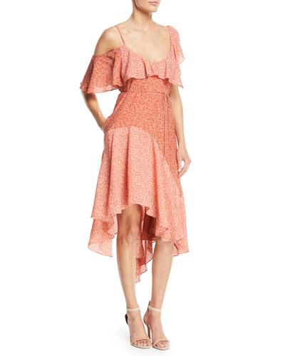 Hacinthia One-Shoulder Silk Midi Dress