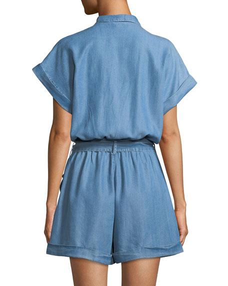 Denim Short-Sleeve Romper