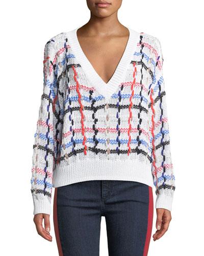 Lloyd V-Neck Multicolor Chunky Knit Sweater