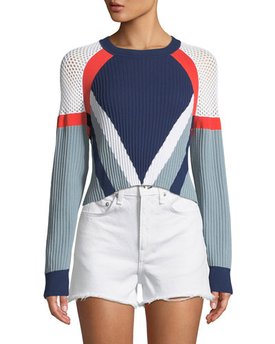 Lark Crewneck Long-Sleeve Cropped Colorblock Knit Sweater