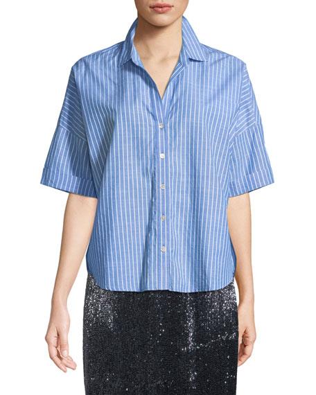 Selsie Short-Sleeve Button-Down Top