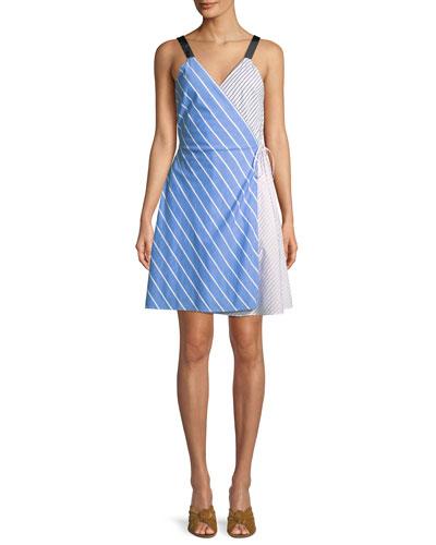 Editha Striped Sleeveless Wrap Dress