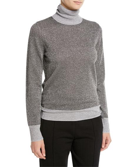 Joseph High-Neck Metallic-Knit Sweater