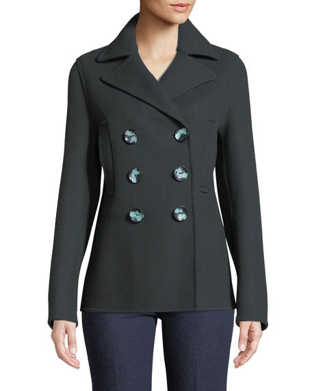 New Hector Short Fitted Pea Coat, Neutral Pattern
