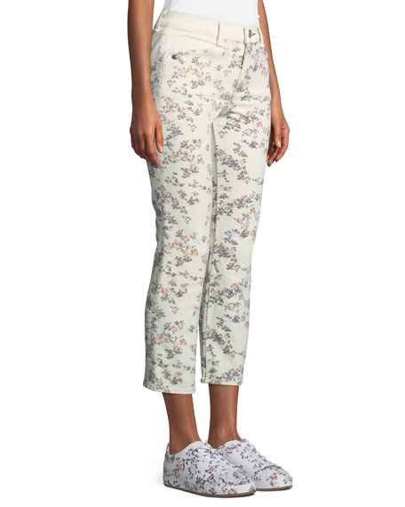 Ellie Floral Cropped Straight-Leg Jeans