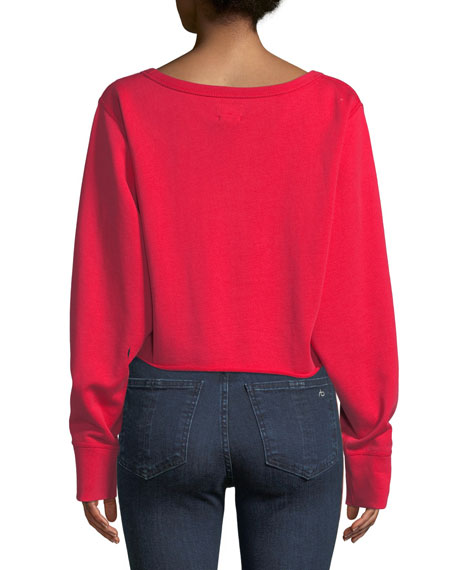 Crewneck Cotton Terry Cropped Sweatshirt
