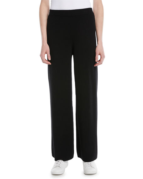 Mongolian Cashmere Wide-Leg Pants, Black