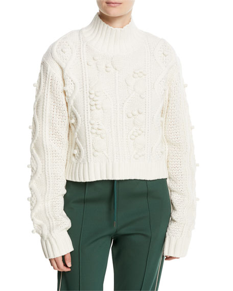 WOOL CABLE-KNIT CROPPED SWEATER