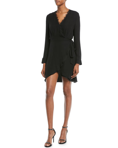 Trino Long-Sleeve Silk Wrap Dress