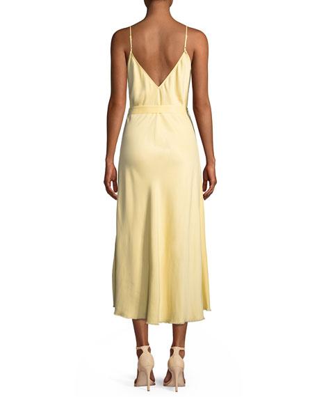 Belted Satin Midi-Length Slip Cocktail Dress