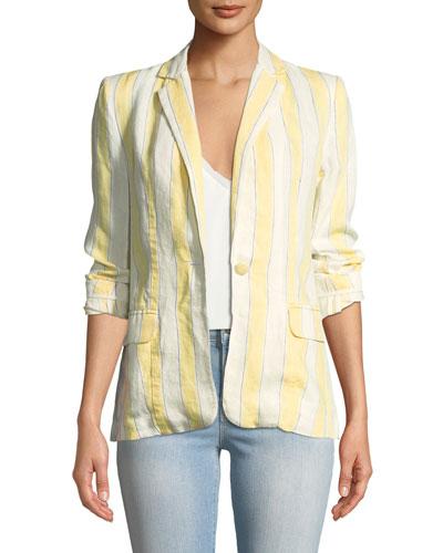 Striped Linen One-Button Blazer