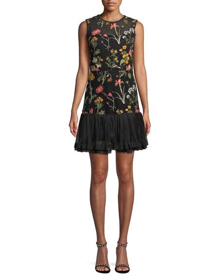 RED VALENTINO Macrame Floral-Embroidered Dress in Black