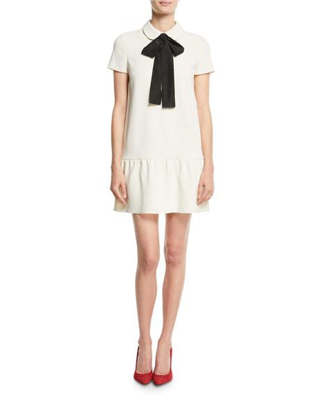 Frisottino Necktie Shift Dress, Ivory/Black