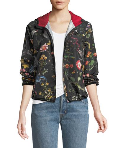 Flora and Fauna Faille Bomber Jacket