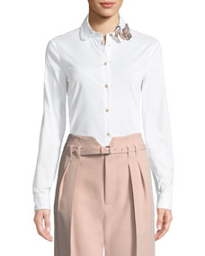 Bead Embellished Poplin Blouse by Red Valentino
