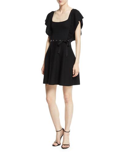 Square-Neck Ruffle-Sleeve Knit Dress