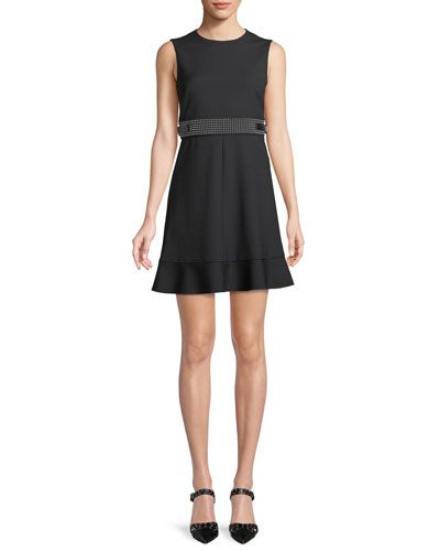 Cady Tech Sleeveless Dress with Microstudded Waist
