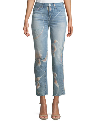 Zoeey High-Rise Straight-Leg Cropped Dip-Out Jeans