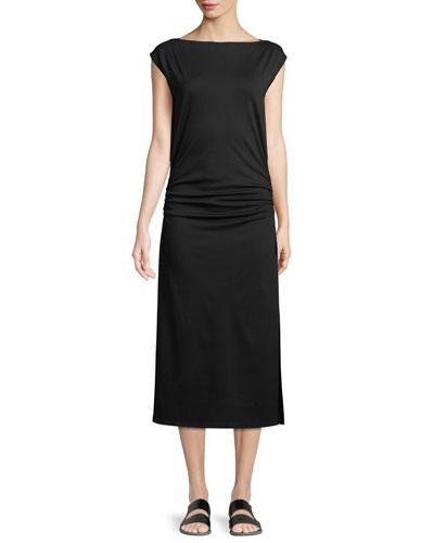 Minimal Ruched Cap-Sleeve Sheath Dress