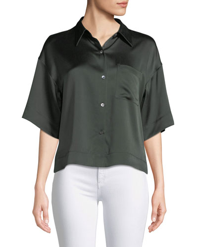 Easy Silk Button-Front Short-Sleeve Top