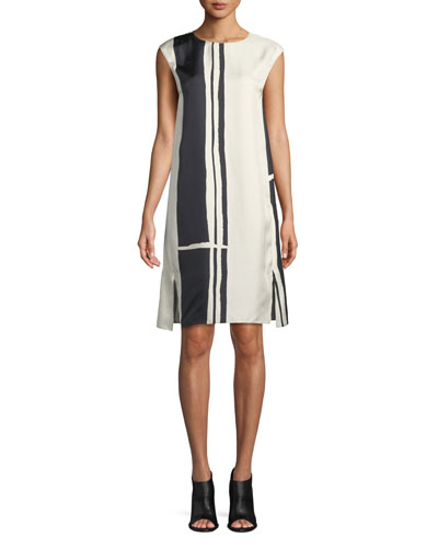 Striped Silk Cap-Sleeve Sheath Dress