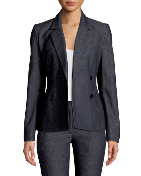 Double-Breasted Twill Blazer