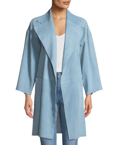 Open-Front Suede Kimono Coat
