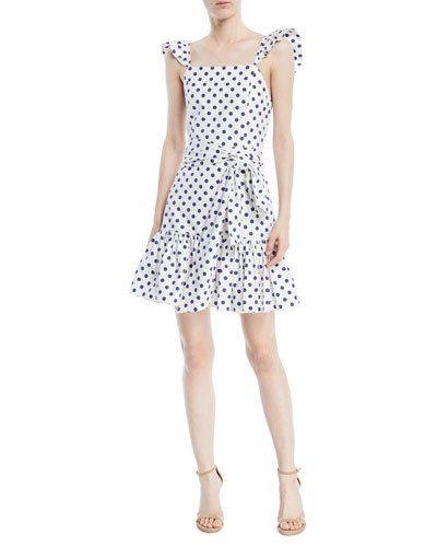 Farah Sleeveless Polka-Dot Mini Dress