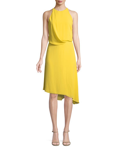 Sleeveless Flowy Draped-Back Cocktail Dress