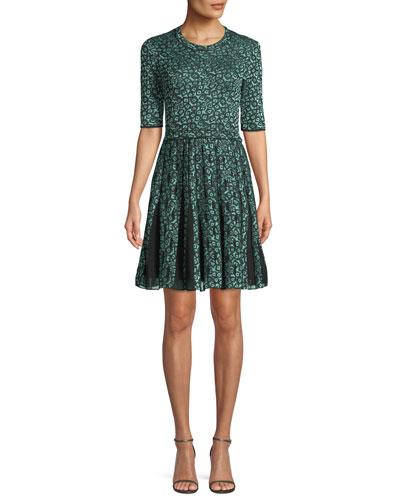 Geometric Devore Half-Sleeve Dress