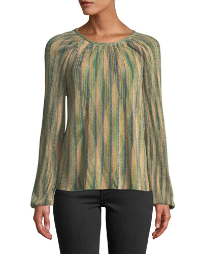 Metallic Striped Long-Sleeve Top
