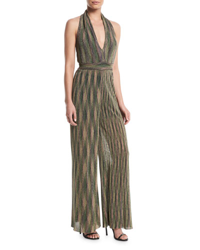 Halter Lurex® Wide-Leg Jumpsuit