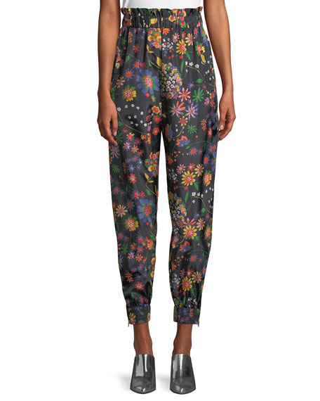 Image 1 of 1: Floral-Print Ruffle Tech Jogger Pants