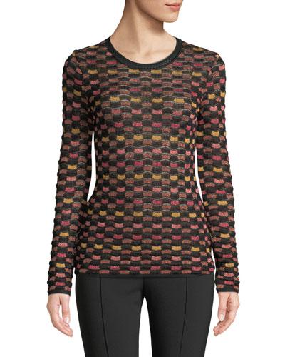 Metallic Checker Long-Sleeve Top