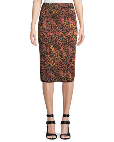 Metallic Animal-Print Pencil Skirt