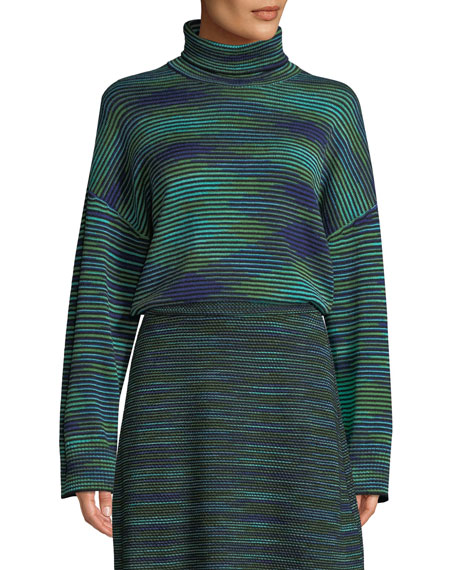 Chunky Space-Dyed Turtleneck Sweater