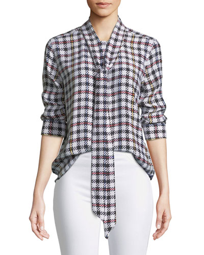 Luis Scholar Plaid Necktie Silk Blouse