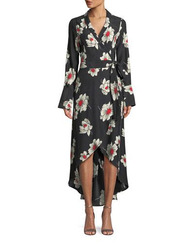 Gowen Floral-Print Silk Wrap Dress