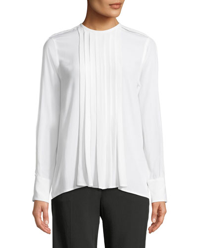 Marilla Pleated-Front Long-Sleeve Silk Blouse