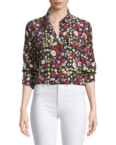 Slim Signature Long-Sleeve Grid Floral-Print Shirt