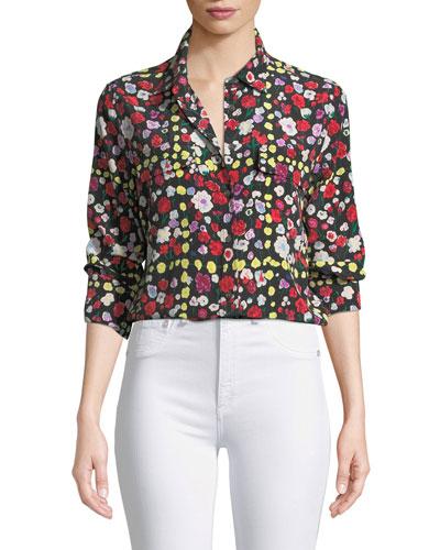 Slim Signature Long-Sleeve Grid Floral-Print Shirt
