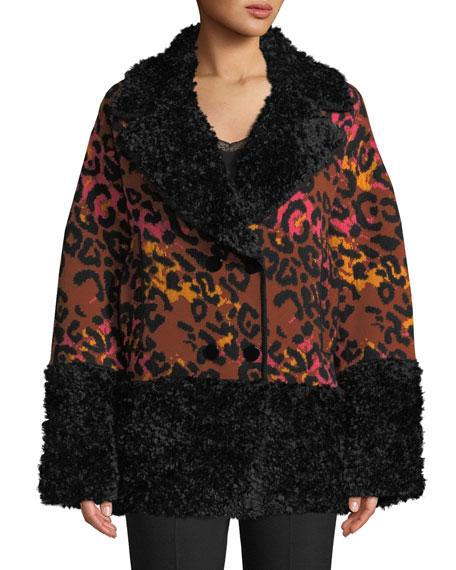 Leopard-Print Animal Jacquard Coat