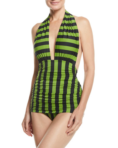Halter Bill Striped Shirred One-Piece Swimsuit