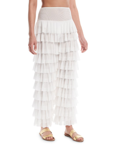 High-Waist Tiered Ruffle Coverup Pants