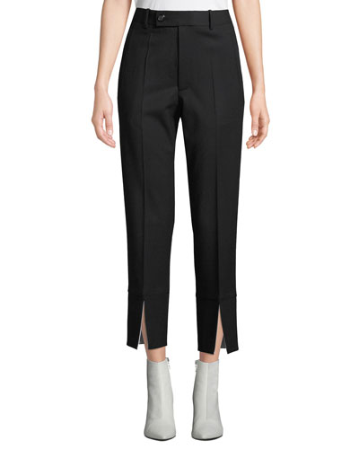 Front-Slit Cropped Wool Suit Pants