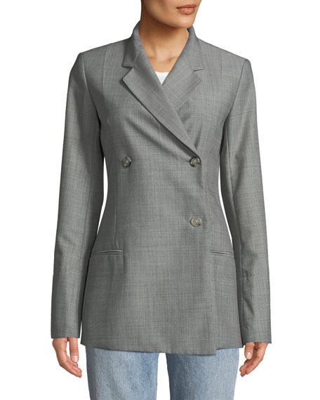 Double-Breasted Wool/Mohair Blazer Jacket