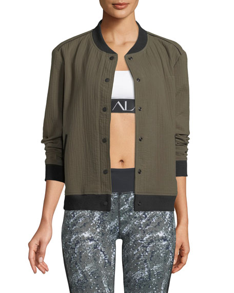 Alala QUILTED SNAP-FRONT COTTON BOMBER JACKET