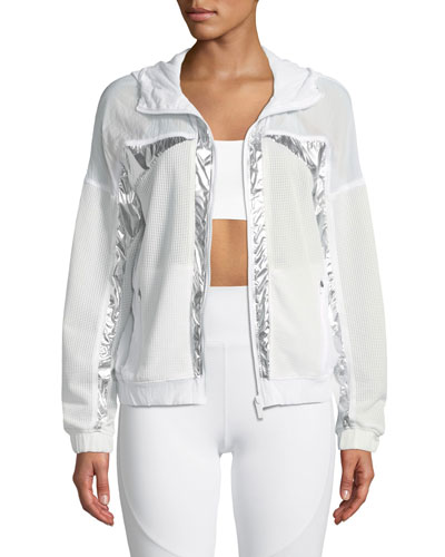 Strata Metallic Zip-Front Mesh Jacket