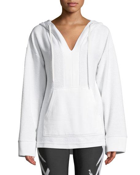 ALALA Baja V-Neck Terry Hoodie in White